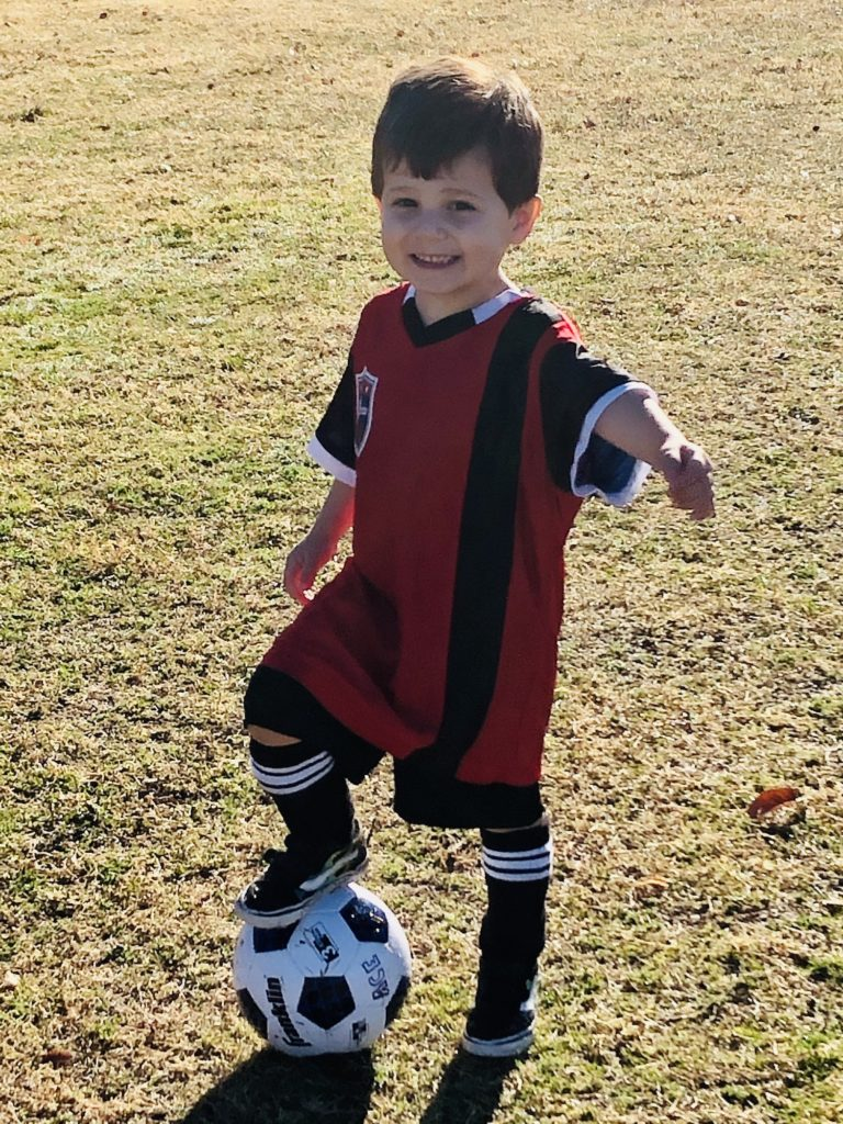 Ace, ready for soccer practice.